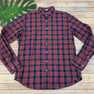 J.crew red & blue plaid long sleeve button down